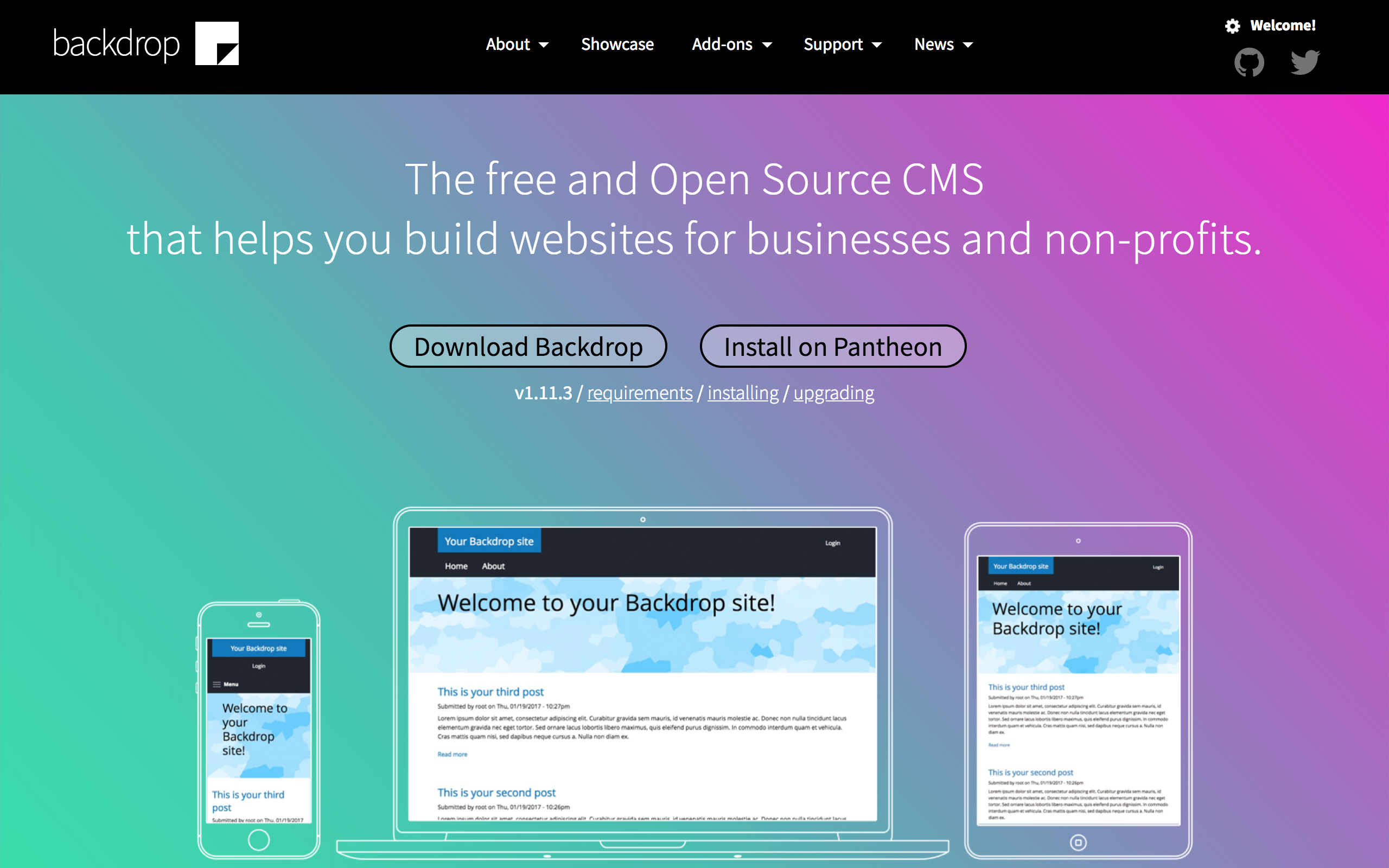 Backdrop CMS homepage