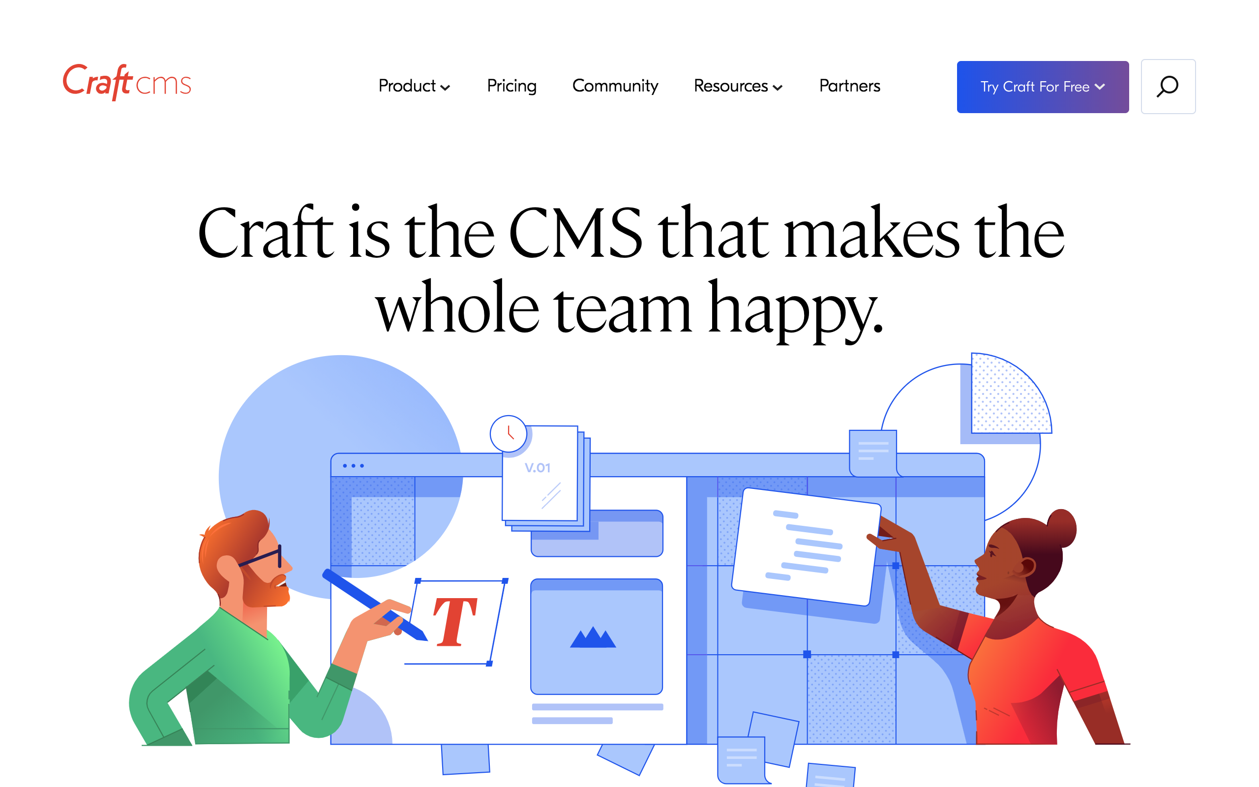 Craft CMS homepage